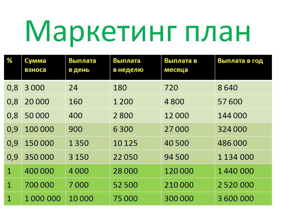 Инвестиции 0,8 в сутки. Еженедельные выплаты - маркетинг план.jpg